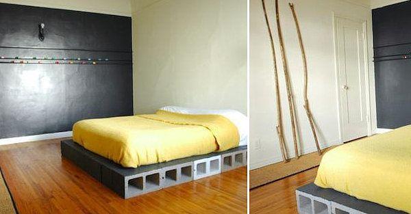 Bloques de hormigón para hacer una cama