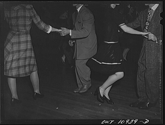 Lancaster, Pennsylvania. Company dance given in Moose Hall by employees of the Hamilton Watch Company so that new employees could get acquainted. Zoot suits and jitterbugs 1940s
