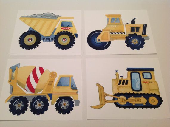 Tonka Construction Toys For Boys : Tonka trucks boy toys baby boys nursery art children s by
