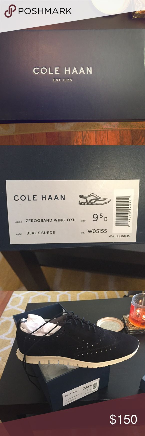 Cole Hann Zerogrand Wing OXII 9.5 size, black suede (not treated) NEVER WORN! Cole Haan Shoes Flats & Loafers