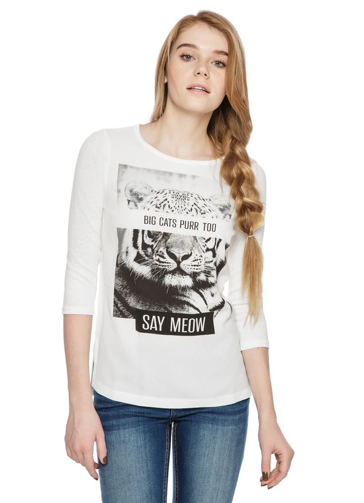 Buy TIGER PHOTO PRINT C-NECK T-SHIRT (LT2O41) in online clothing shop O'STIN