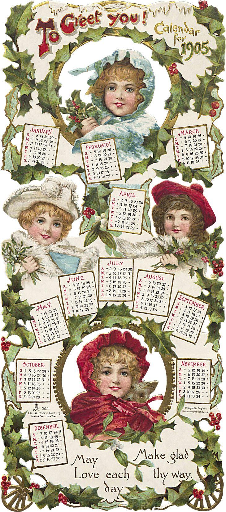 Wings of Whimsy: To Greet You Christmas Calendar 1905 #vintage #ephemera #freebie #printable #calendar