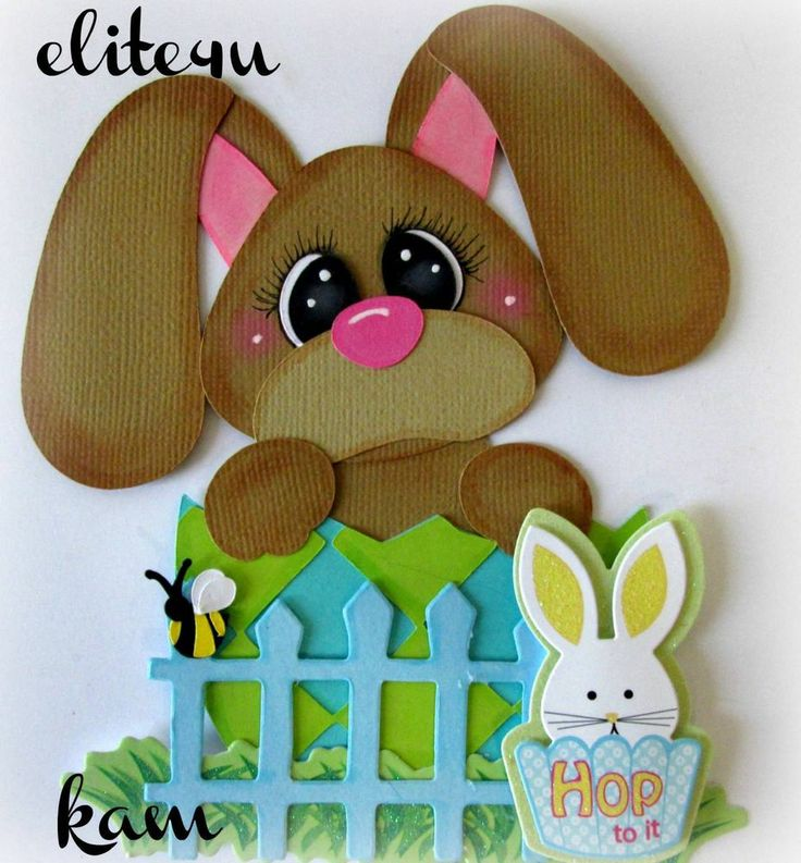 ELITE4U KAM HANDMADE EASTER BUNNY PAPER PIECING FOR PREMADE PAGE ALBUM