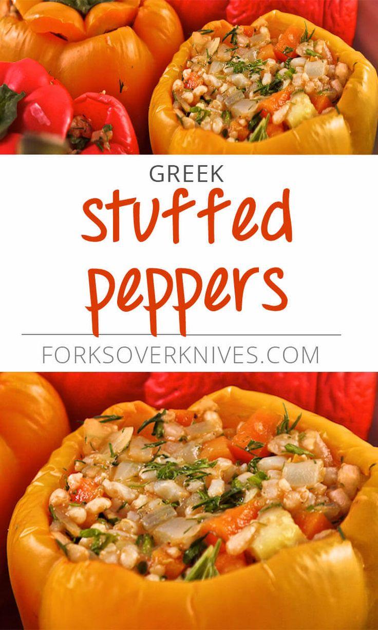 Greek Stuffed Peppers - Plant-Based Vegan Recipe