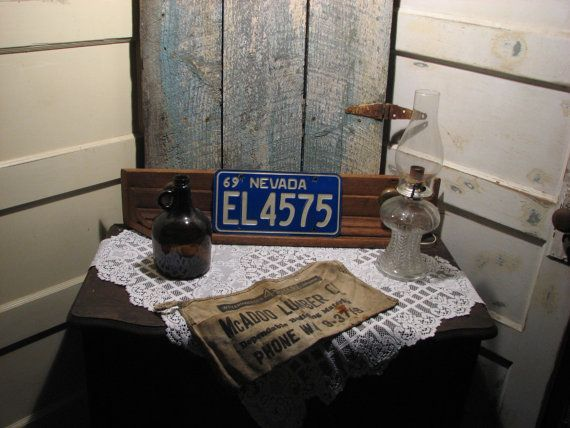 Vintage License Plate 1969 Blue And White NEVADA Rusty Rust Man Cave Sign Garage