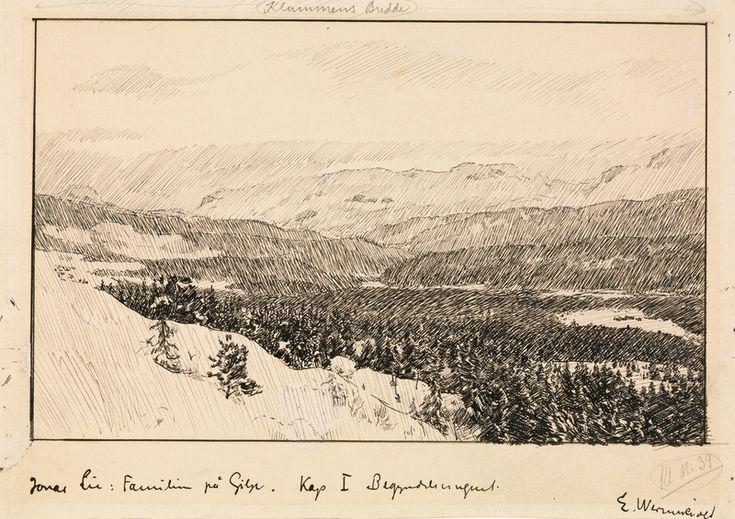 """Erik Werenskiold, Illustrasjon til Jonas Lie """"Familien på Gilje"""", København 1903 [-1904]. (1903)"""