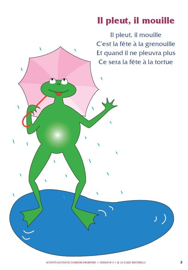 Des activités autour de la chanson « Il pleut il mouille » pour les élèves de PS, GS et MS.