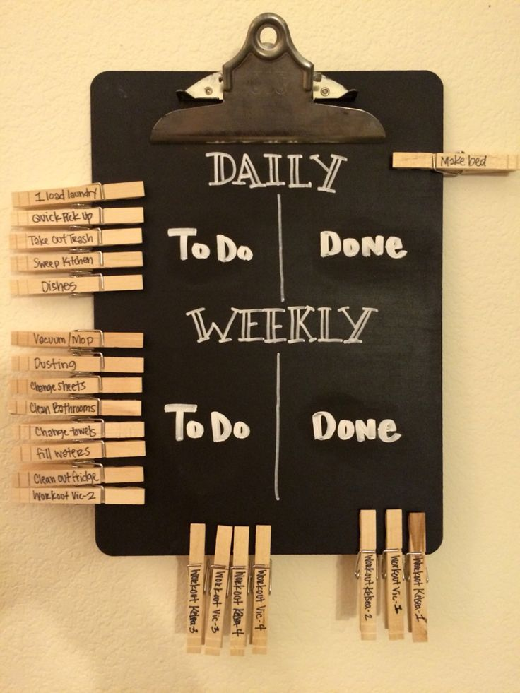 Even grown ups need a chore chart! Daily and weekly chalkboard chore chart for married couples. DIY with chalkboard paint and pens, an old clipboard, and some clothes pins.