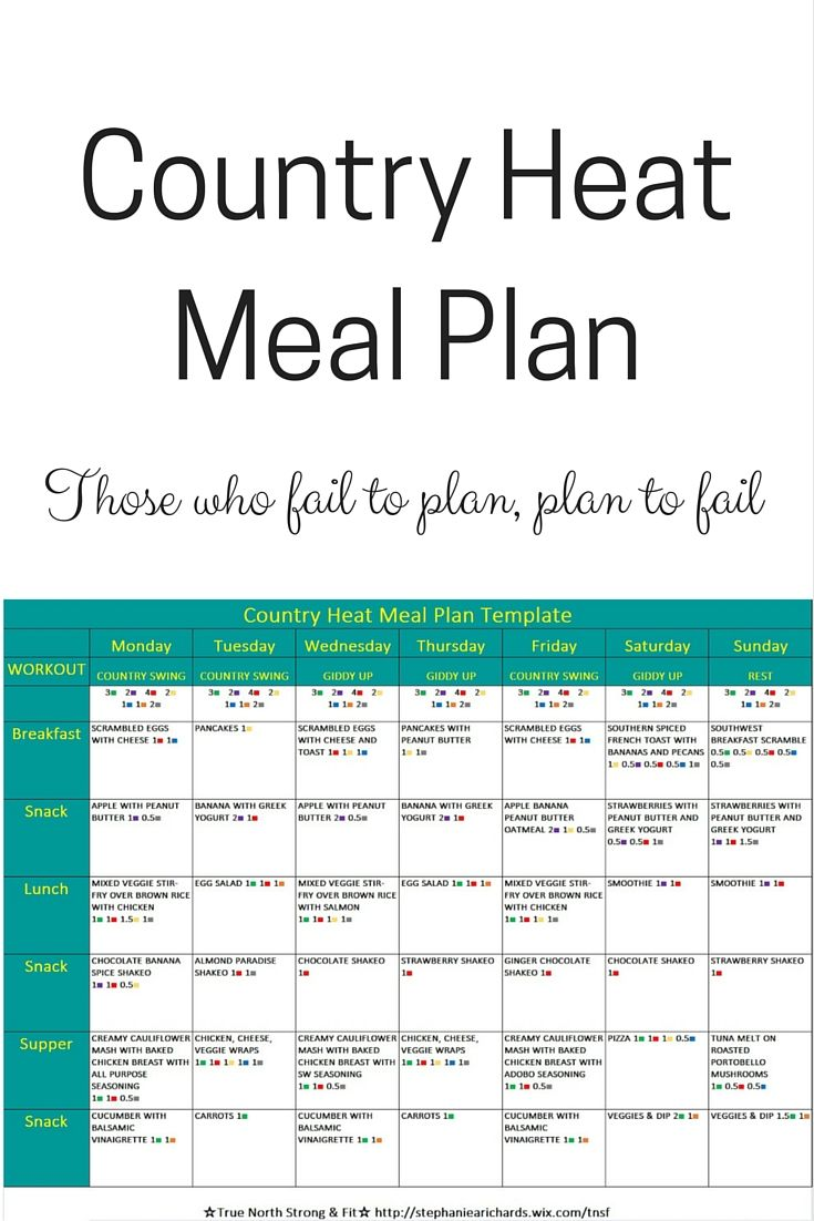 Country Heat Meal Plan based off the 1,200 - 1.499 calorie bracket! #countryheat http://stephaniearichards.wixsite.com/tnsf