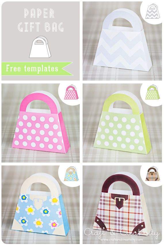 Paper gift bag. Free template. Five different designs. :)