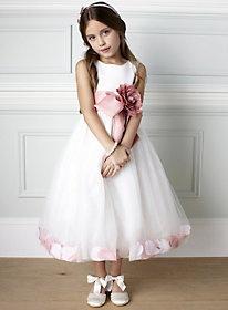 dusky pink little girls bridemaid dress