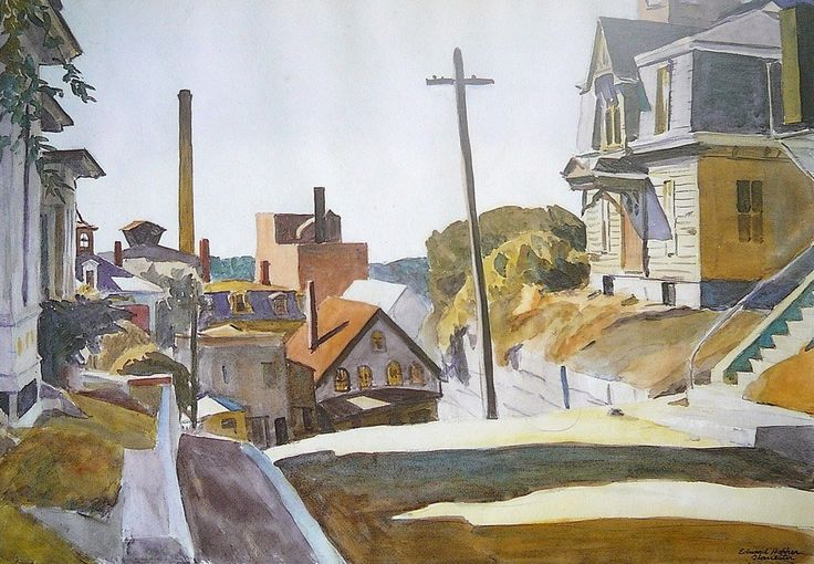 Edward Hopper (1882 — 1967, USA) The Hill. 1926 watercolor on paper.