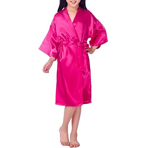 YOLIA Kids Nightgowns Solid Colours Stain Silk Kimono Robes Sleepwear  Nighties 703a78dd3
