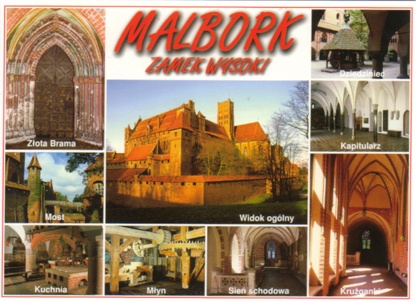 Castle of the Teutonic Order in Malbork - Poland  This 13th-century fortified monastery belonging to the Teutonic Order was substantially enlarged and embellished after 1309, when the seat of the Grand Master moved here from Venice. A particularly fine example of a medieval brick castle, it later fell into decay, but was meticulously restored in the 19th and early 20th centuries.