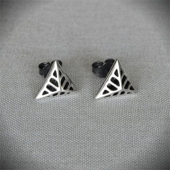 Triangular Flowers - Silver Stud Earrings  #triangular #earrings #stud #gift #art #deco
