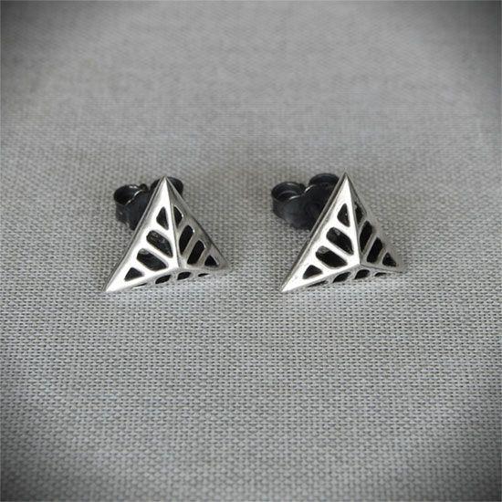 Triangular Flowers - Silver Stud Earrings  #triangular #earrings #stud #gift #art #deco