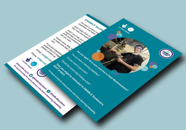 EAST FLYERS (BLUE VERSION) – ENABLE Scotland's double sided flyer design for the EAST Project as a blue version, funded by ENABLE Scotland and The Big Lottery Fund. #graphicdesign #marketing #flyers #employment #jobs