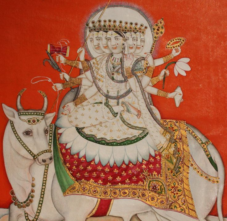 www.IndianMiniaturePaintings.co.uk - Indian miniature painting: Devi (The Goddess) as Mahagauri on her bull vahana (mount). Kangra, circa 1840-50. Opaque watercolour with minerals and tooled gold on wasli. 20.3 x 16.4cm