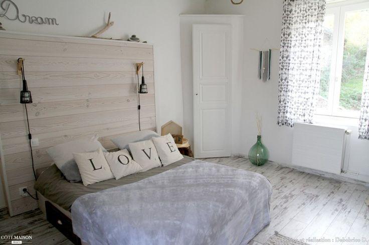 Chambre grise et blanche ambiance nature cabane de plage - Maison grise et blanche ...