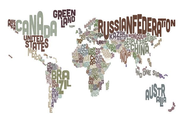 Typographic Text World Map Brown - Fototapeter & Tapeter - Photowall