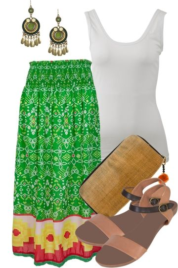 Riviera Rhapsody - Float away in this gorgeous green Naudic skirt. Perfect for letting your spirit fly. Teamed with bohemian accessories you'll be good to go #nina #offspring