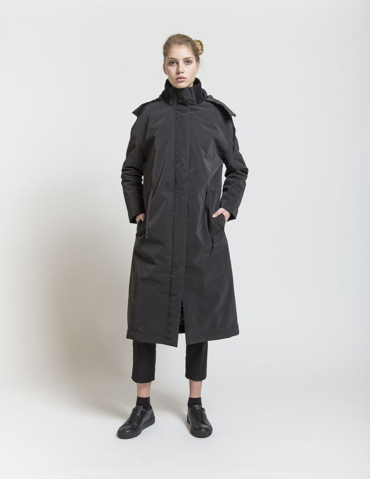 Selfhood - womenswear outfit. Polyester jacket long with hood and waist string.