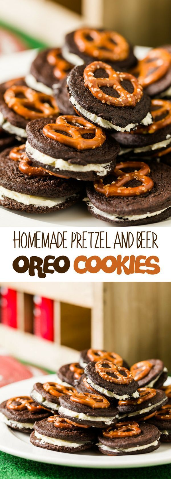 Looking for homemade oreo cookies ideas? This Homemade Pretzel and Beer Oreo Cookies are even better than store-bought ones. The beer in the frosting simply cuts the sweetness, adds a little sour, and brings a just slightly perceptible aroma of foamy lager being poured into a pint glass. For more simple baking desserts recipes and homemade sweet treats, check us out at #cupcakeproject. #desserts #yummydesserts #recipeoftheday #sweettooth