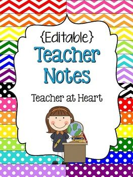 FREEBIE - {Editable} Teacher Notes!  Perfect notecards for thank you notes!  and FREE!