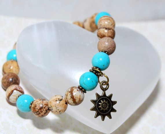 Earth Sky and Sun bracelet bohemian by SilviaJardimDesigns on Etsy