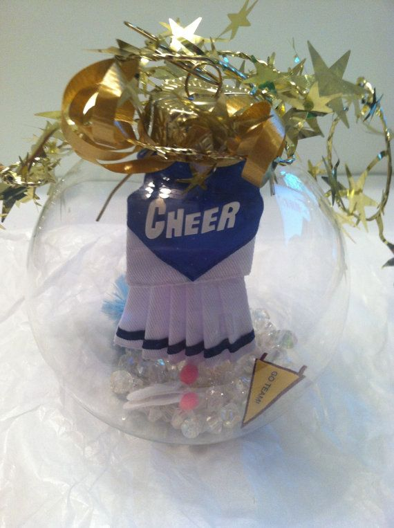 Cheerleader ornament, Leader glass globe keepsake, personalize it with cheerleader's name on Etsy, $18.50