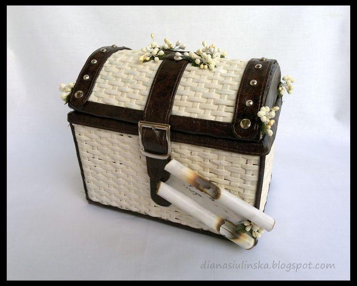 kuferek z papierowej wikliny