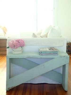 Distressed side table. So easy to make! Old barn wood and a few nails