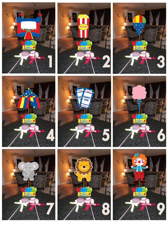 """DIY small 12"""" Carnival Circus Birthday Party Centerpieces Centerpiece baby shower 1st birthday Mitzvah on Etsy, $10.00"""