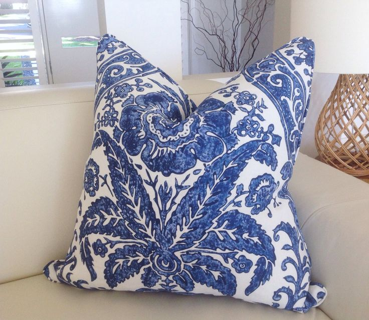 Blue and White Linen Luciana Damask Designer Cushions EURO size Pillows Hampton's Style Pillows, Decorative Pillows Coastal by MyBeachsideStyle on Etsy