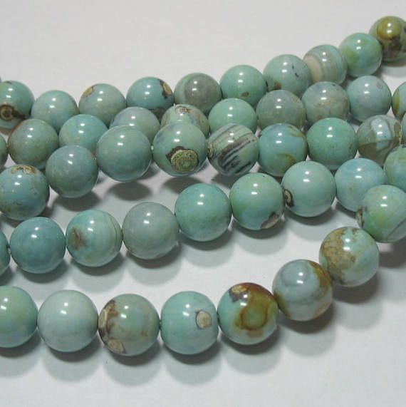 Blue Green Agate 12mm Round 15 Beads 7 Strand Stone Crystals And Gemstones Green Agate Crystals