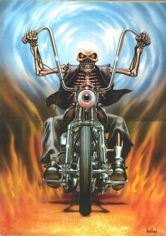 David Mann - Skeleton Riding Chopper Photo/Poster