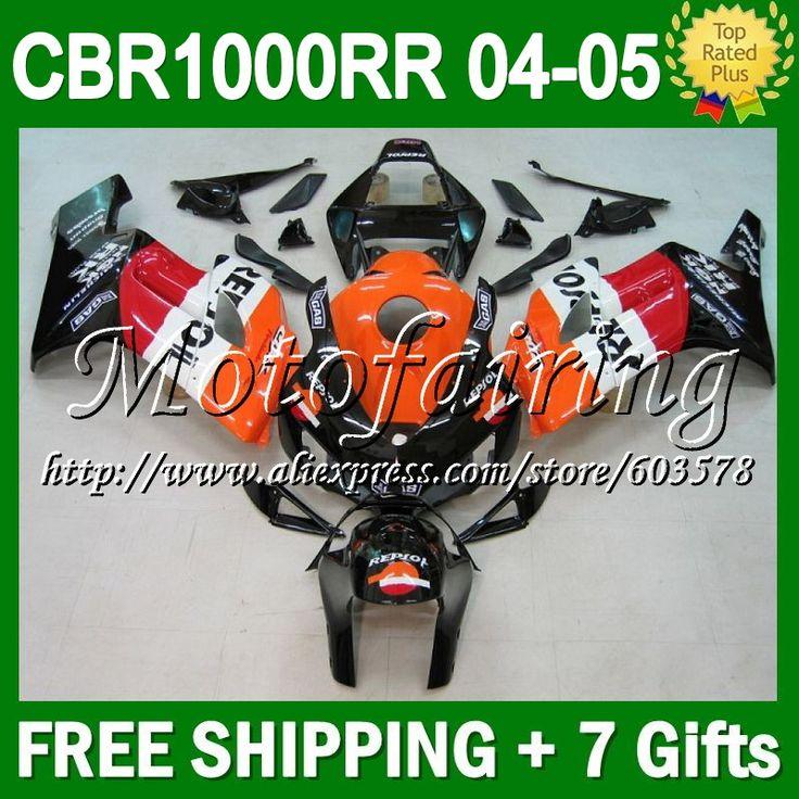 7 подарки + капот для HONDA CBR1000 RR 04 - 05 04 05 красный черный CL7977 цб рф 1000 1000RR CBR1000RR 2004 2005 Repsol оранжевый Fairin