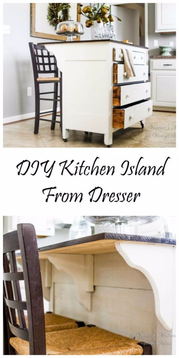 DIY Home Improvement Projects On A Budget - DIY Kitchen Island From Dresser - Cool Home Improvement Hacks, Easy and Cheap Do It Yourself Tutorials for Updating and Renovating Your House - Home Decor Tips and Tricks, Remodeling and Decorating Hacks - DIY Projects and Crafts by DIY JOY http://diyjoy.com/diy-home-improvement-ideas-budget #DIYHomeDecorCraftsOnABudget #cheaphomerenovations #homeimprovementkitchendiy