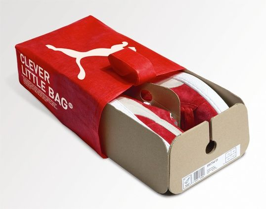 Innovative design reduces packaging and shipping weight, but also store clerks are trained to remove the cardboard and tissue paper stuffed in the shoes at the point of purchase to ensure that 100% of this material is recycled. The only packaging that the customer takes home is this clever little bag.