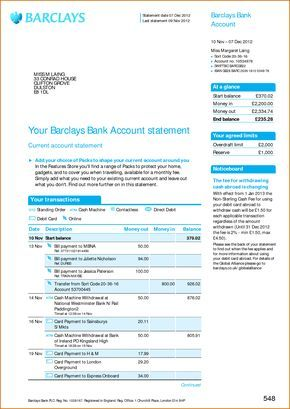 Viewing Gallery For  Bank Account Statement  barclays in 2019  Statement template Credit