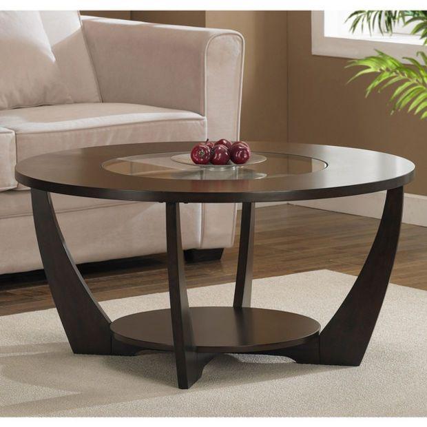 Modern Espresso Coffee Table with Shelf & Glass Insert