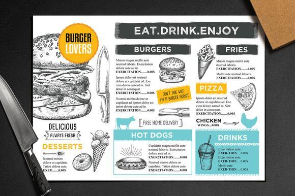 Food menu, restaurant flyer #28 ~ Brochure Templates on Creative Market