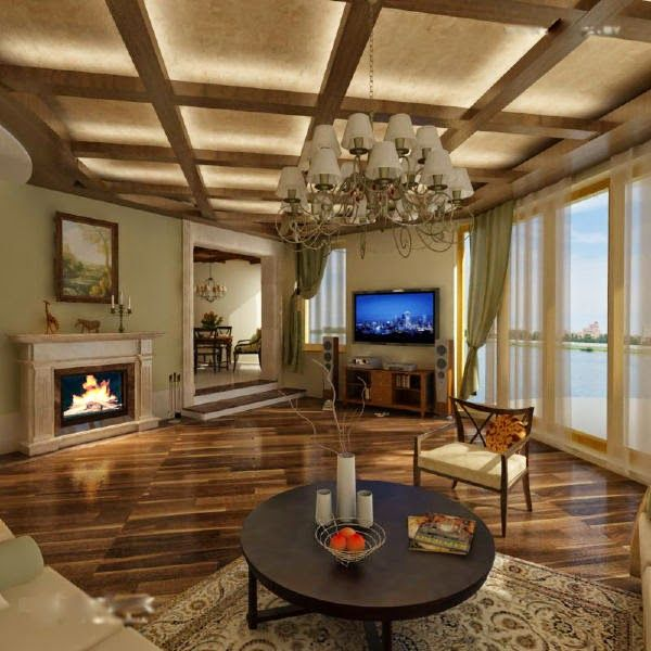 wood false ceiling design for country living room
