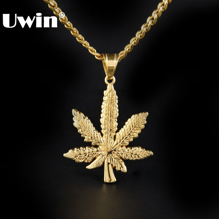 Hip-hop Stainless Steel Gold Color Men's  Weed Leaf Necklace //Price: $22.71 & FREE Shipping //     #weed