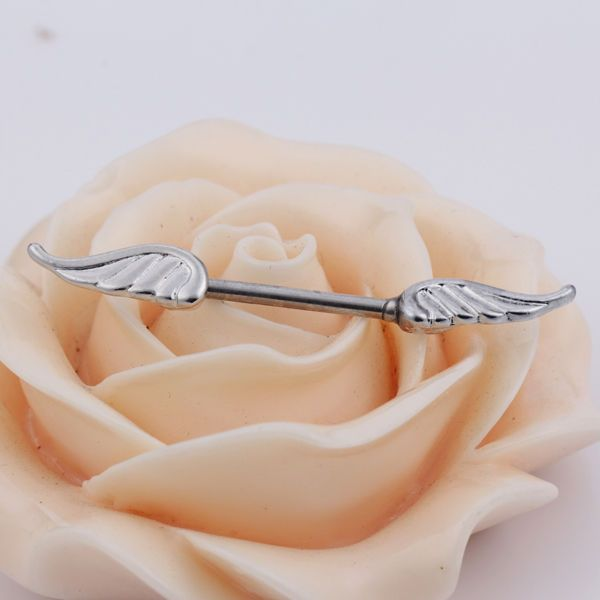 1 Pair Angel Wings Feather Body Nipple Bar Barbell Piercing Ring 14G Jewelry TW #BodyJewelry