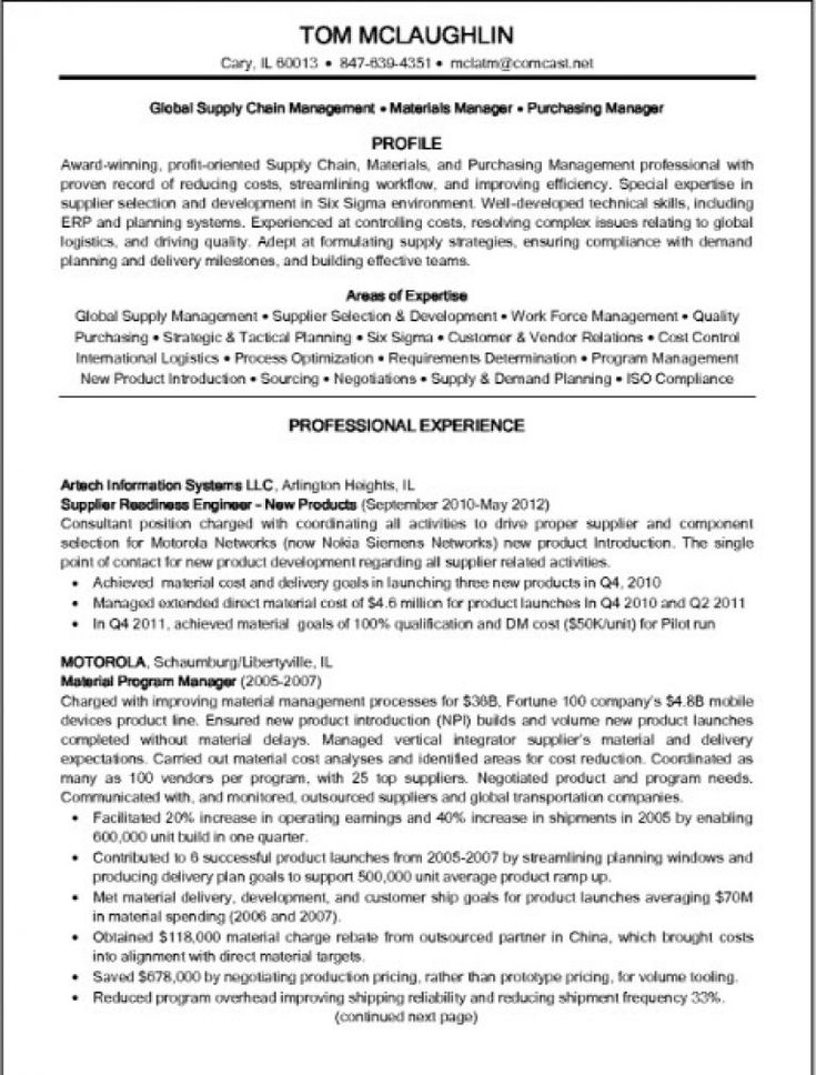 Supply Chain Manager Resume Resume \/ Job Pinterest Supply - logistics manager resume