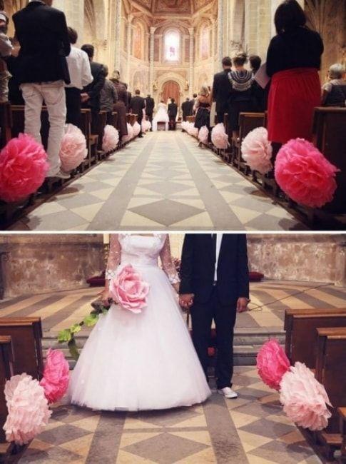 Bonjour, Auriez-vous des images de décoration église banc + allée sans fleurs (histoire de réduire les frais)? Mon mariage est sur le thème de l'orchidée avec les couleurs fushia, gris et blanc