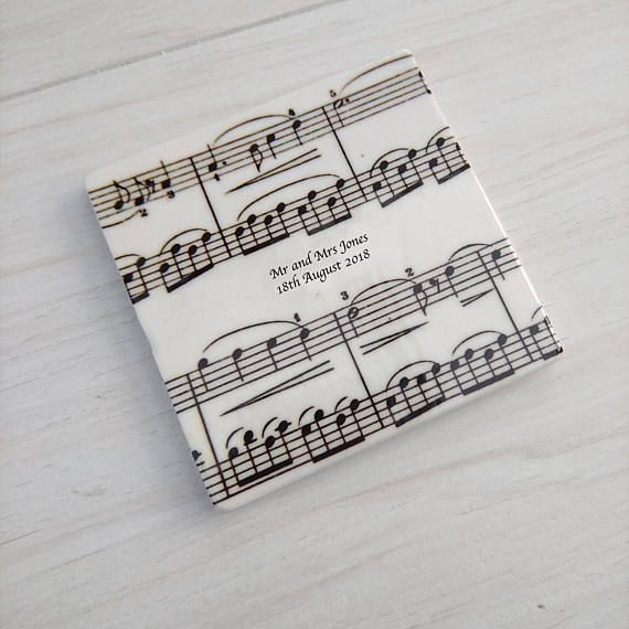 Personalised Music Coasters Unique Wedding Favours Music Themed