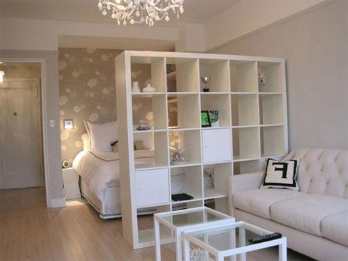 Nice idea for studio apartment or living space downstairs. Dividing wall  shelving from ikea.