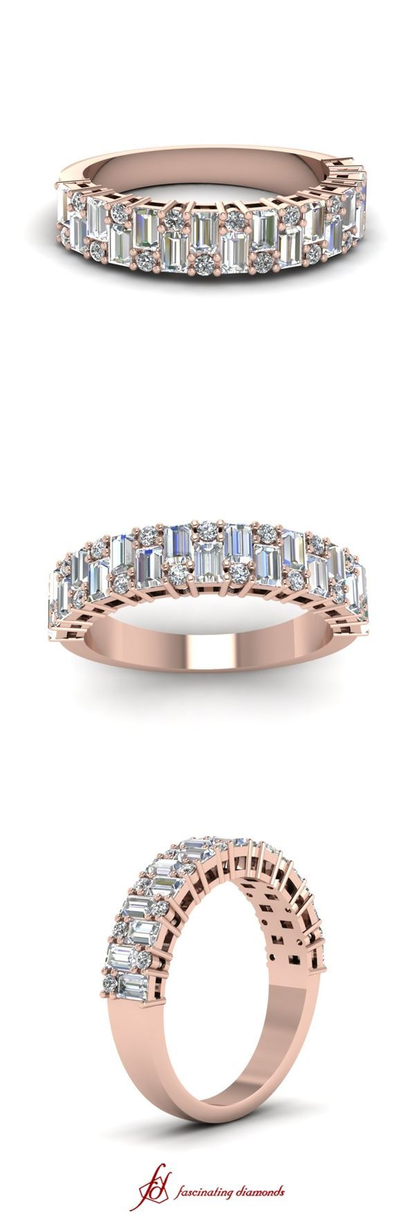 Baguette Rapture Ban Baguette Rapture Band || White Diamond Wedding Band In 14K Rose Gold